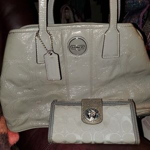 Beautiful Grey Coach Satchel & wallet